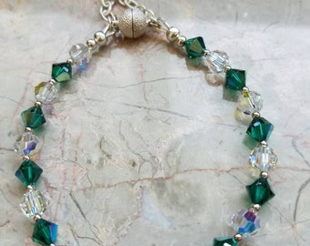 Swarovski crystal with sterling silver clasp