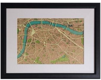 London wall map, London SE1: London Bridge, London Borough, London Waterloo, Lambeth, Southwark, Bankside - Artist original papercut map art