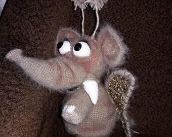 Elephant butterfly crochet toy