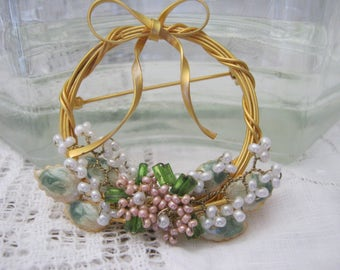 Charming Spring Wreath Brooch
