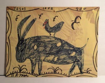 "Original R A Miller Folk Art Painting ""JESUS LOVE YOU"" w Spotted ""Devil"" Goat, Chicken and Birds"
