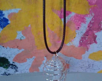 """18"""" Bead Cage Necklace w/white lampwork bead"""