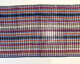 Now on Sale. Beautiful blue tones hand-woven scarf by Zapotec artisan. Cotton and natural dyes. Cotton table runner. Hand woven scarve