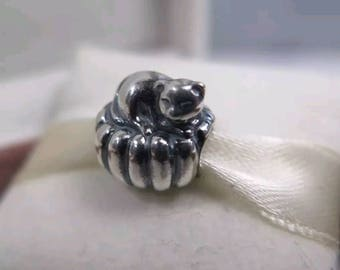 Pandora Cozy Kitten Charm/New/Ale/925/Solid Sterling Silver/Threaded Core