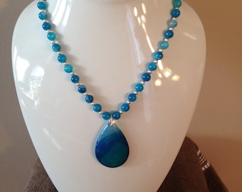 Genuine Banded Blue Agate Jewelry Set