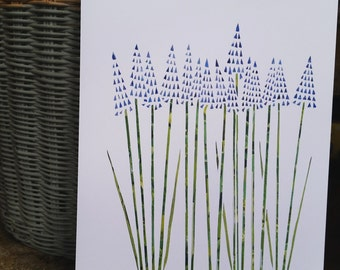 Muscari Flowers A4 print of original collage and paper cut art work
