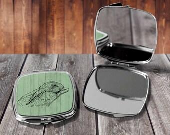 Rabbit Sketch Compact mirror, Make up mirror, Pocket mirror, Hand Mirror, Purse Mirror, Birthday gift, Gift for her