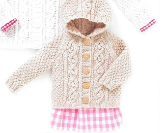 Knitting pattern. Hayfield 4504 baby aran age birth to 7 years. cardigan and hooded jacket included