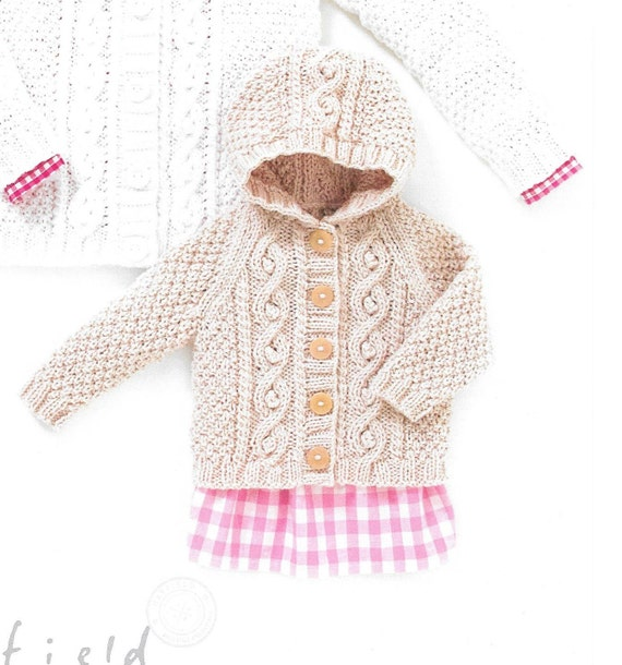 Knitting pattern. Hayfield 4504 baby aran age birth to 7 years. cardigan and ...