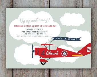 Airplane Invitation, Airplane Birthday Invitation, Airplane Party Invitation, red Vintage airplane cloud Invitation up away DIGITAL FILE