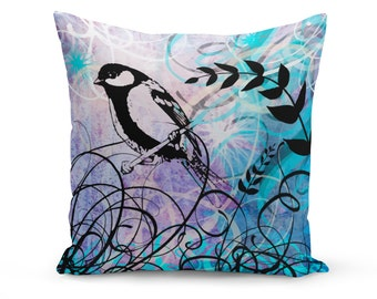 Pillow Cover, Art Pillow Cover, Bird Pillow Cover, Linen Pillow Cover, Bird Art Throw Pillow, Blue Purple Pillow Cover, Modern Pillow Cover
