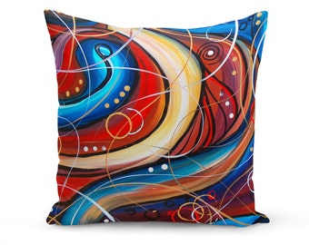 Pillow Cover, Abstract Pillow Cover, Red and Blue Pillow Cover, Original Abstract Throw Pillow, Abstract Painting, Modern Art Pillow Cover