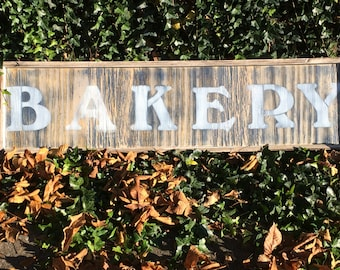 """Wooden Distressed """"BAKERY"""" sign"""