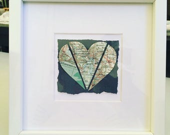 Multi location vintage heart map frame