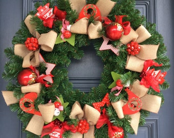 Christmas Wreath with Red Birds