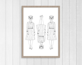 Print Illustration A4 Watercolour for gift and Decoration Della character Reproduction frame black and white