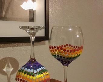 Set of two Rainbow Pride Wine Glasses