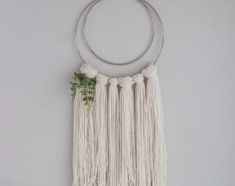 Yarn wall hanging | boho wall art | metal ring wall hanging | yarn macrame