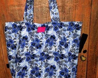 Handmade Blue Floral Market Bag