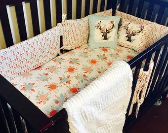 Coral Fawn Crib Bedding