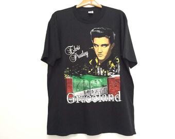 Sale!! Vintage 90s Elvis Presly Graceland Tshirt Nice Screen Rare