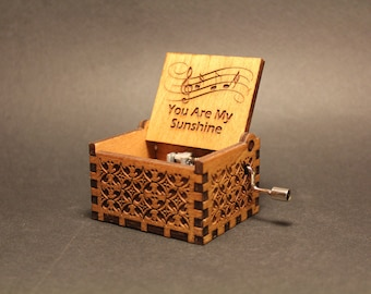 Engraved Handmade Wooden Music Box - You Are My Sunshine - Jimmie Davis