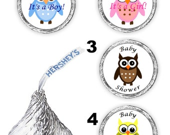 108 baby owl theme  baby shower party kisses candy favors pink, blue, brown, yellow  (candy not included)