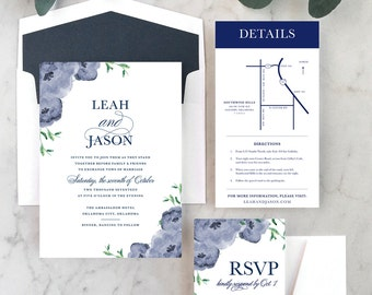 Navy Floral Wedding Invitations