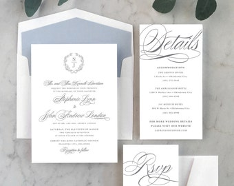 Timeless Crest Wedding Invitations