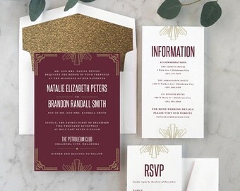 Retro Deco Wedding Invitations