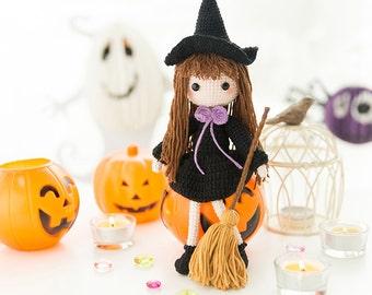 CROCHET PATTERN : Halloween Witch Crochet, Witch Amigurumi, Witch Hat Pattern,  Cute Doll Amigurumi PDF Pattern, Hallowmas Witch Toy Pattern