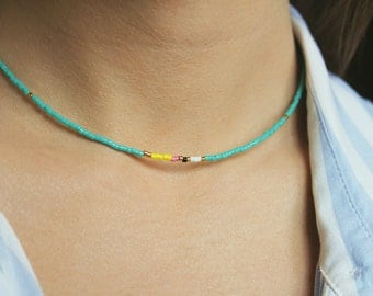 Colorful Necklace, Bohemian Necklace, Beaded Necklace, Short Necklace, Colorful Choker, Gold Boho Necklace, Bohemian Choker, Beaded Choker