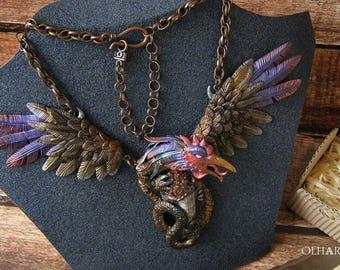 Necklace Basilisk, Wings Talisman, Jewelry of Polymer Clay, Fossilized Mollusk, OOAK, Fantastic Amulet, Mythological Creature, Mystic Animal