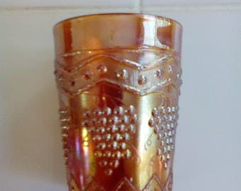 Carnival Glass Tumbler - Lattice and Grape