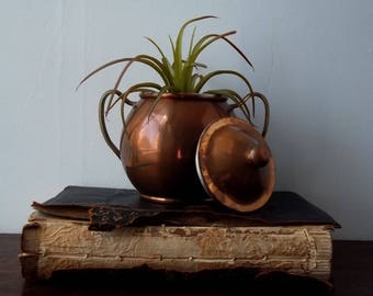 Copper Sugar Bowl with Lid/ Vintage/Repurpose/Planter/Collectable/Trinkets