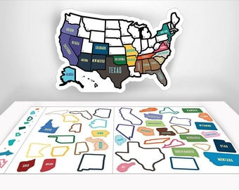 "US Travel Decal RV Sticker - 13"" x 17"" inches - RV Trailer Accessories - State Sticker Map Road Trip Decals-Road Trip Accessories, Motorhome"