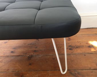 Stool seat bench with white hairpin legs