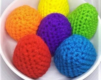 Crochet Easter Eggs, Crochet Toy, Play Food, Easter Decor, Easter Basket, Easter Gift, Easter Egg Hunt, Colorful Eggs, Crocheted Eggs