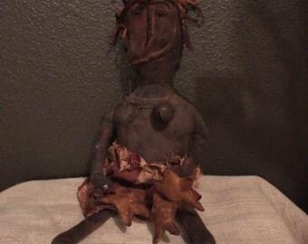 Handmade Primitive Black Patriot Doll