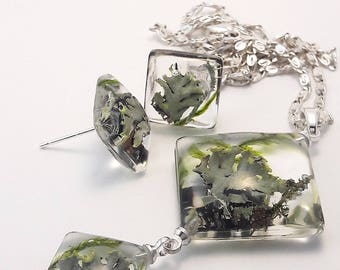Set of earrings and pendant from the forest moss
