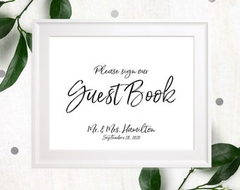 Printable Guest Book Sign-Calligraphy Guest Book Sign-DIY Handwritten Style Wedding Decor-Stylish Hand Lettered Please Sign our Guest Book