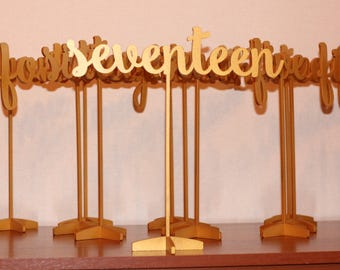 Golden table numbers - Table Number - Table Numbers - Freestanding - Gold Table Numbers  - Wedding Table Number