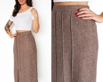Brown Tweed High Waist Wool Pencil Skirt XS/S