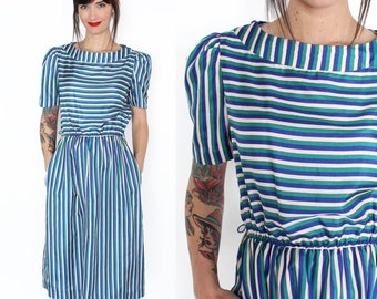 Blue, Green and Cream Striped Silk Fit and Flare 80s Knee-Length Dress S/M