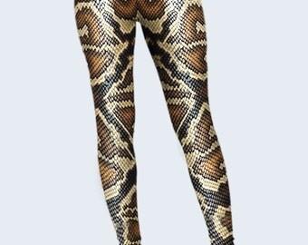 Snake Leggings, Scale Leggings for Women, Printed Leggings, Brown Leggings, Leggings Women, Cool Leggings, Fashion Leggings