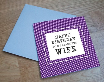 Eco Friendly Birthday Card - 'Beautiful Wife'
