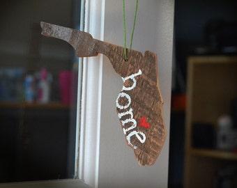 Rustic Florida Ornament- Custom Florida Ornament - Handmade Wood Ornament - Unique Florida Ornament - Christmas Ornament - Christmas Florida