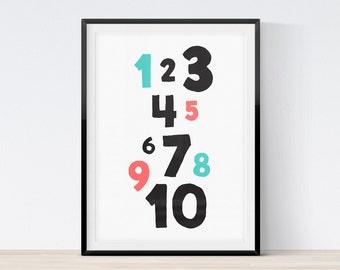 Numbers Print, Nursery Numbers Art, Nursery Art Print, Children's Art, Kids Printable, Kids Numbers, Nursery Numbers, Instant Download