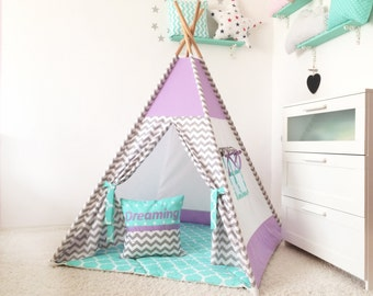 Teepee with mat Childrens teepee Wigwam Kids Teepee Playhouse Tee pee & Kids teepee tent | Etsy