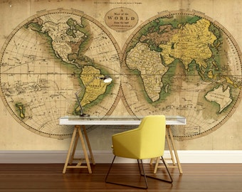 World Map Retro Wallpaper. world map wallpaper  old wall mural vintage self